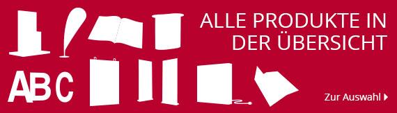 Übersicht aller Produkte im Überblick: Schilderdruck, Logo Herstellung, Werbebanner, Digitaler Druck von Werbemitteln.